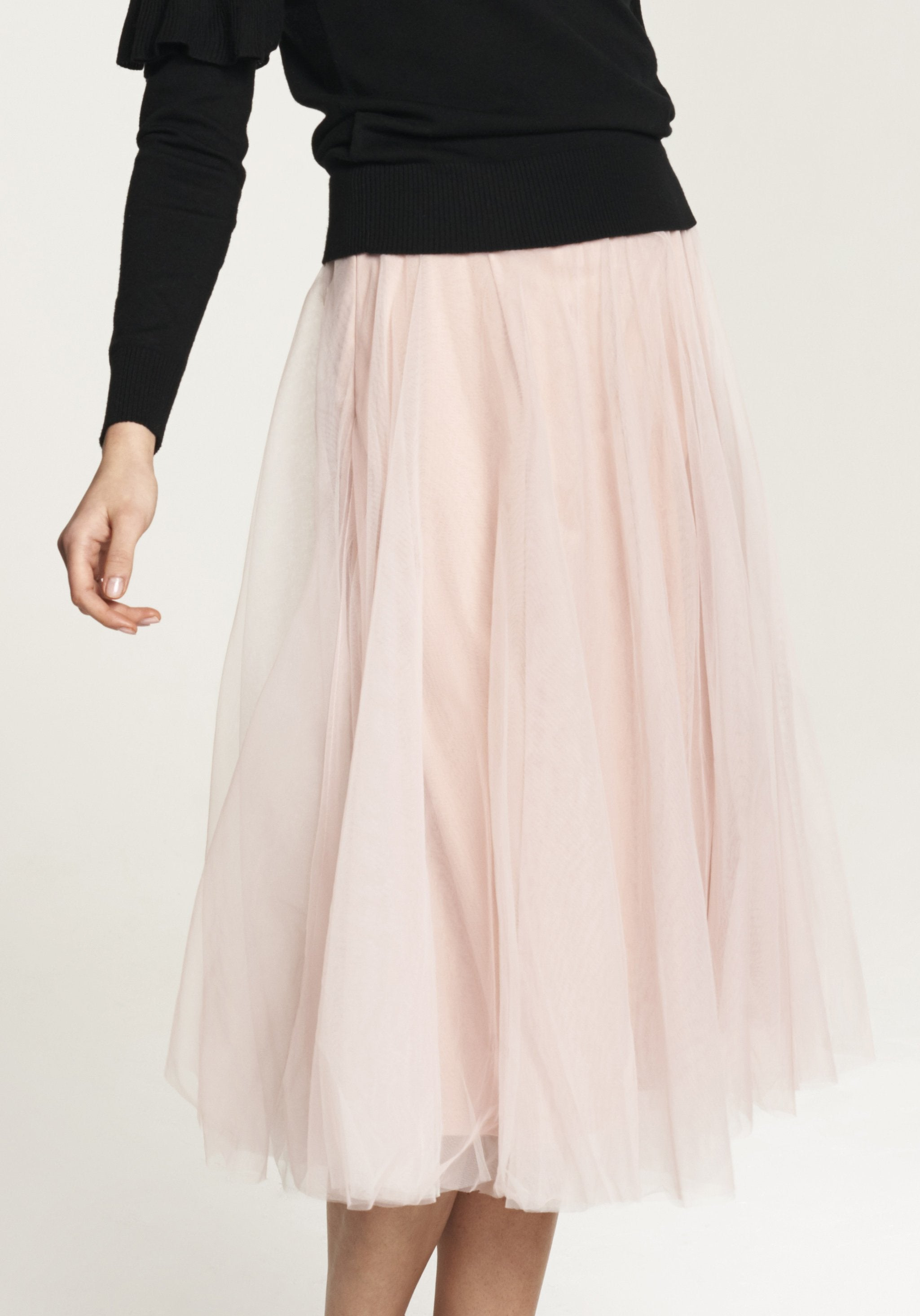 Midi Skirt with Satin Waistband and Tulle Overlay in Blush
