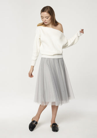 Midi Skirt with Satin Waistband and Tulle Overlay in Grey