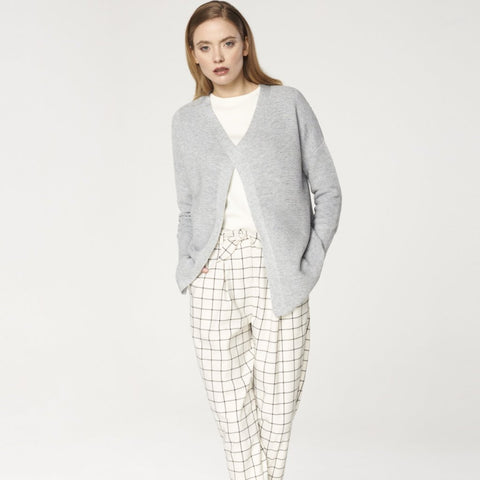 Checked Peg Leg Trousers in White and Black