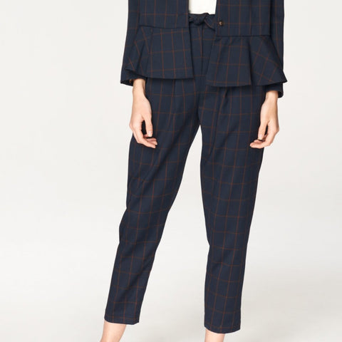 Checked Peg Leg Trousers in Navy and Brown