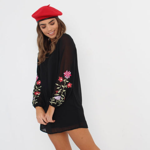 Floral Embroidered Sleeved Dress by Wired Angel Ltd on OOSTOR.com
