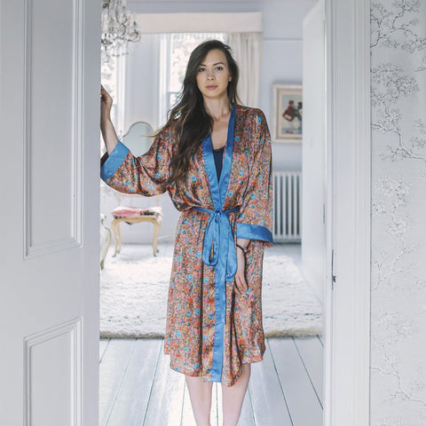 Palm Springs Satin Kimono Dressing Gown by Kate Barnet on OOSTOR.com