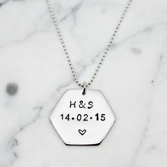 Personalised Hexagon Sterling Silver Necklace