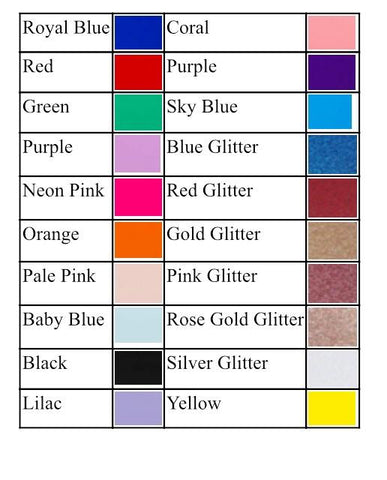 Colour chart for Personalised cake toppers