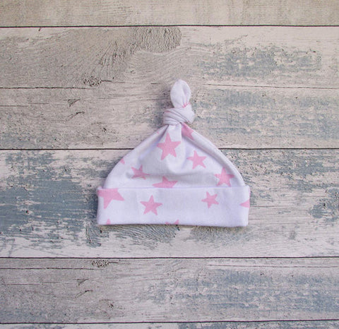 Pink Star Print Baby Tie Knot Hat