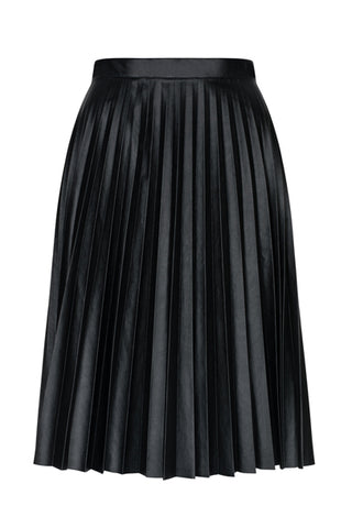 Black Pleated Leather Skirt by Bubala