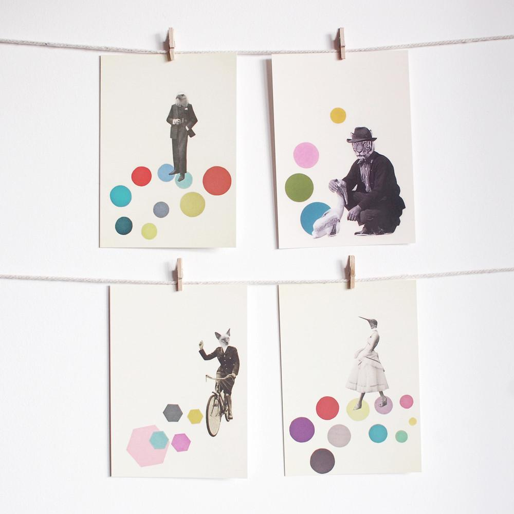 Anthropomorphic Postcard Set - Animal People by Cassia Beck on OOSTOR.com