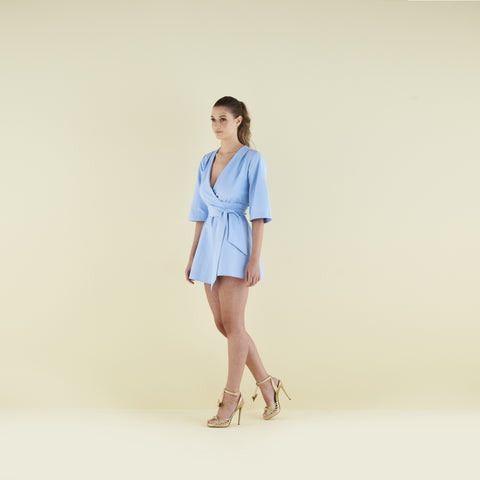 Mary-H-Wrap Mini Dress/Kimono in Pale Blue by CoCo VeVe on OOSTOR.com
