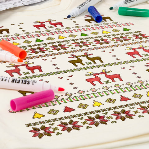 Fairisle Colour In Top With Fabric Pens
