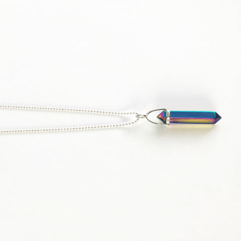 Magic Rainbow Quartz Necklace in Silver by Crystal & Sage on OOSTOR.com