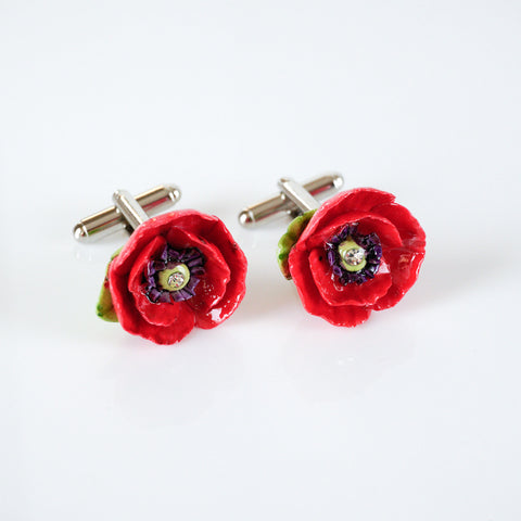 Red Poppy Cufflinks