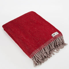 Burgundy RURU - XL Pure Wool Blanket by HOP Design on OOSTOR.com