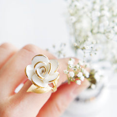 Golden White Cloud Rose Cocktail Ring by POPORCELAIN on OOSTOR.com