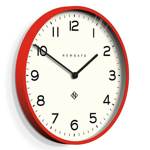 Echo Number One | Red Kitchen Clock | Large Colourful Wall Clock