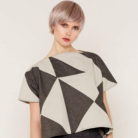 Rhea Top - Grey & Beige by Bo Carter on OOSTOR.com