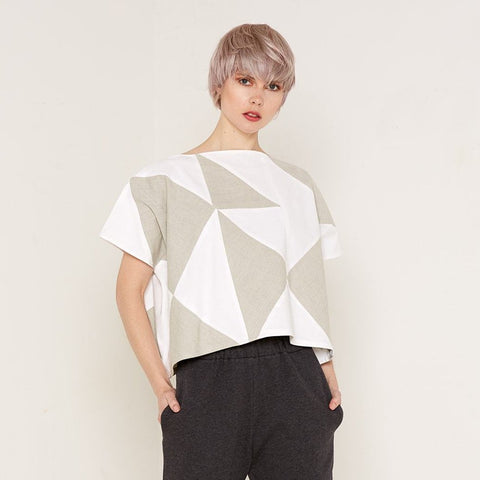 Rhea Top - Beige & White by Bo Carter on OOSTOR.com