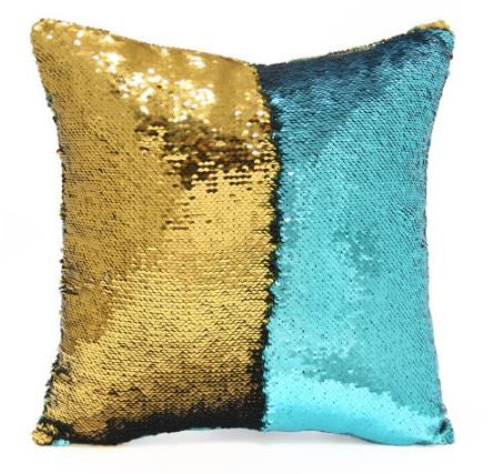 Lake Blue & Gold Mermaid Cushion by Mermaid Pillow Shop on OOSTOR.com