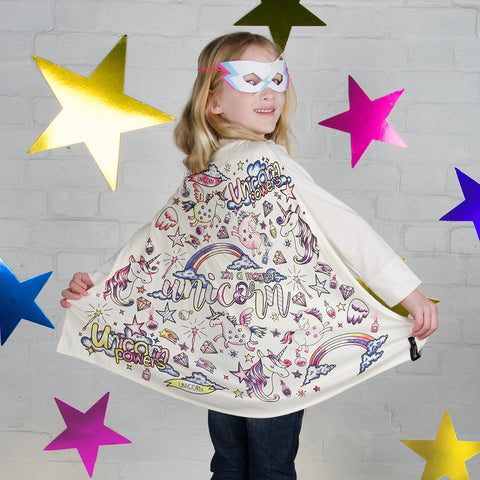 Unicorn Colour In Cape With Fabric Pens by Selfie Clothing Co on OOSTOR.com