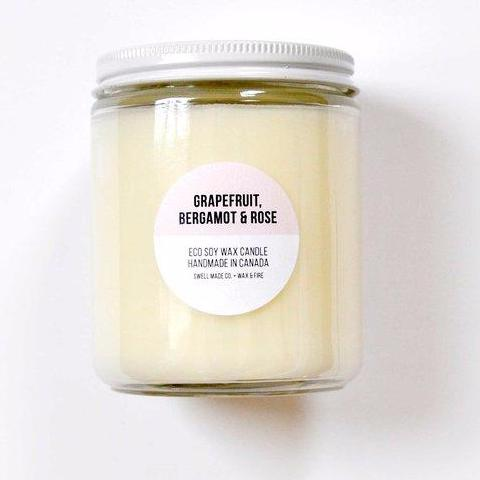Grapefruit, Bergamot & Rose Soy Wax Candle by Swell Made Co on OOSTOR.com