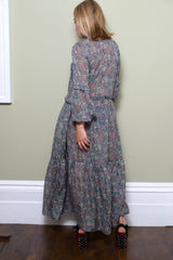 Grey Floral Maxi Dress With Frill Detail by Minkie London on OOSTOR.com