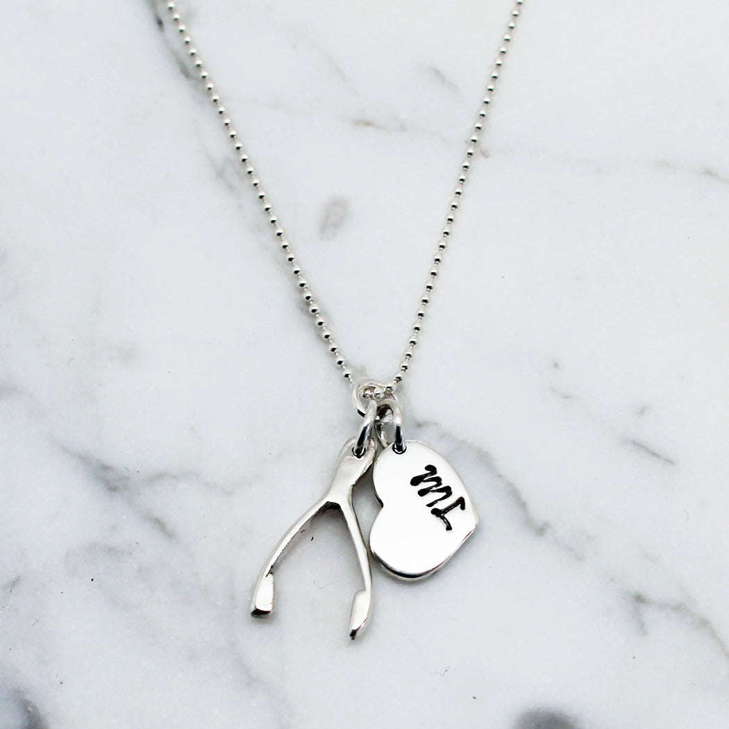 Personalised Double Lucky Heart Sterling Silver Necklace