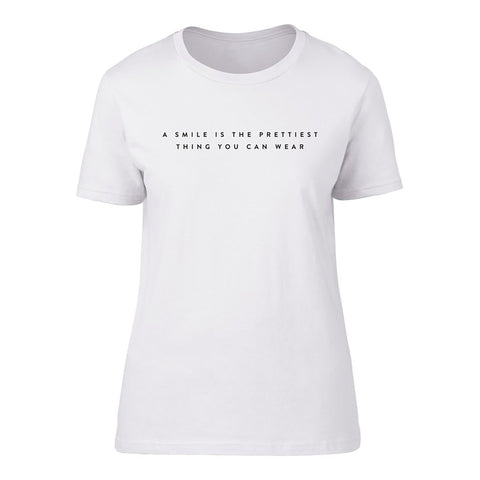 A Smile is the Prettiest Thing you can Wear' Short Sleeve fitted Tee_Leonora Hammond_OOSTOR.com
