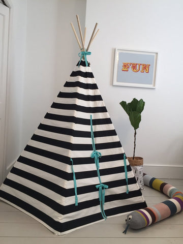 STRIPE TEEPEE SEAFOAM TRIM by Wildfire Teepees