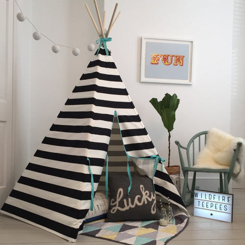 STRIPE TEEPEE SEAFOAM TRIM by Wildfire Teepees on OOSTOR.com