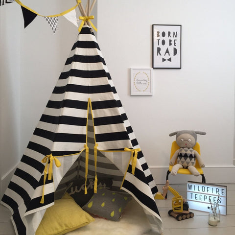 STRIPE TEEPEE YELLOW TRIM by Wildfire Teepees
