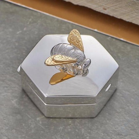 Solid silver bee trinket box