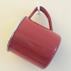 Bright Red Enamelware Mug by Jasmine White on OOSTOR.com