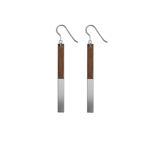 The Zelda - Steel Drop Earrings by form.london on OOSTOR.com
