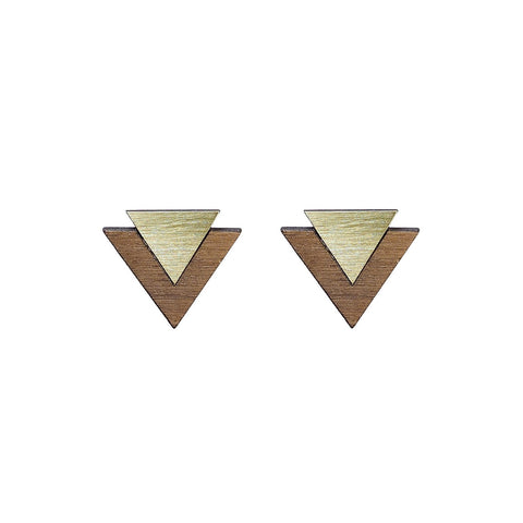 The Maisie - Brass Stud Earrings by form.london on OOSTOR.com