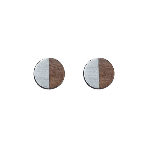 The Josephine - Steel Stud Earrings by form.london on OOSTOR.com