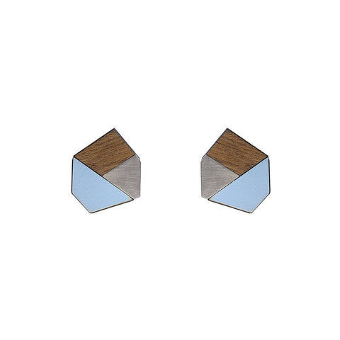 The Gwen - Peaceful Blue Stud Earrings by form.london on OOSTOR.com