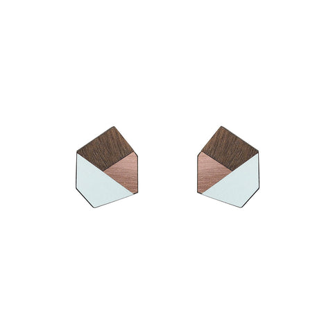 The Gwen - Aquamarine Stud Earrings by form.london on OOSTOR.com