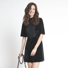 Lace Detailed Velvet Dress