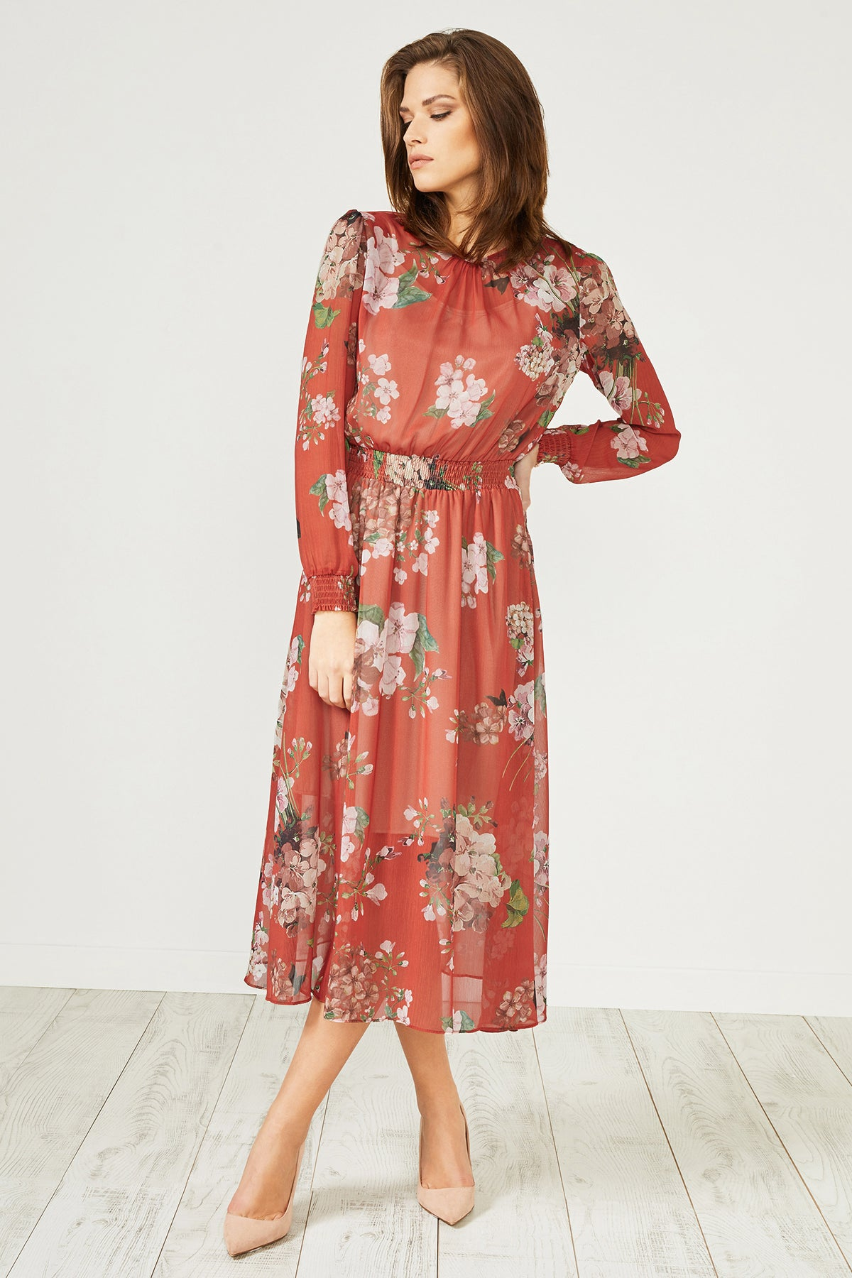 Red Floral Print Long Sleeve Midi Dress