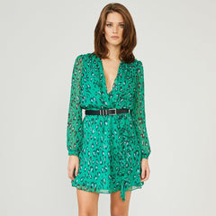 Leopard Print Wrap Elasticated Waist Dress Green