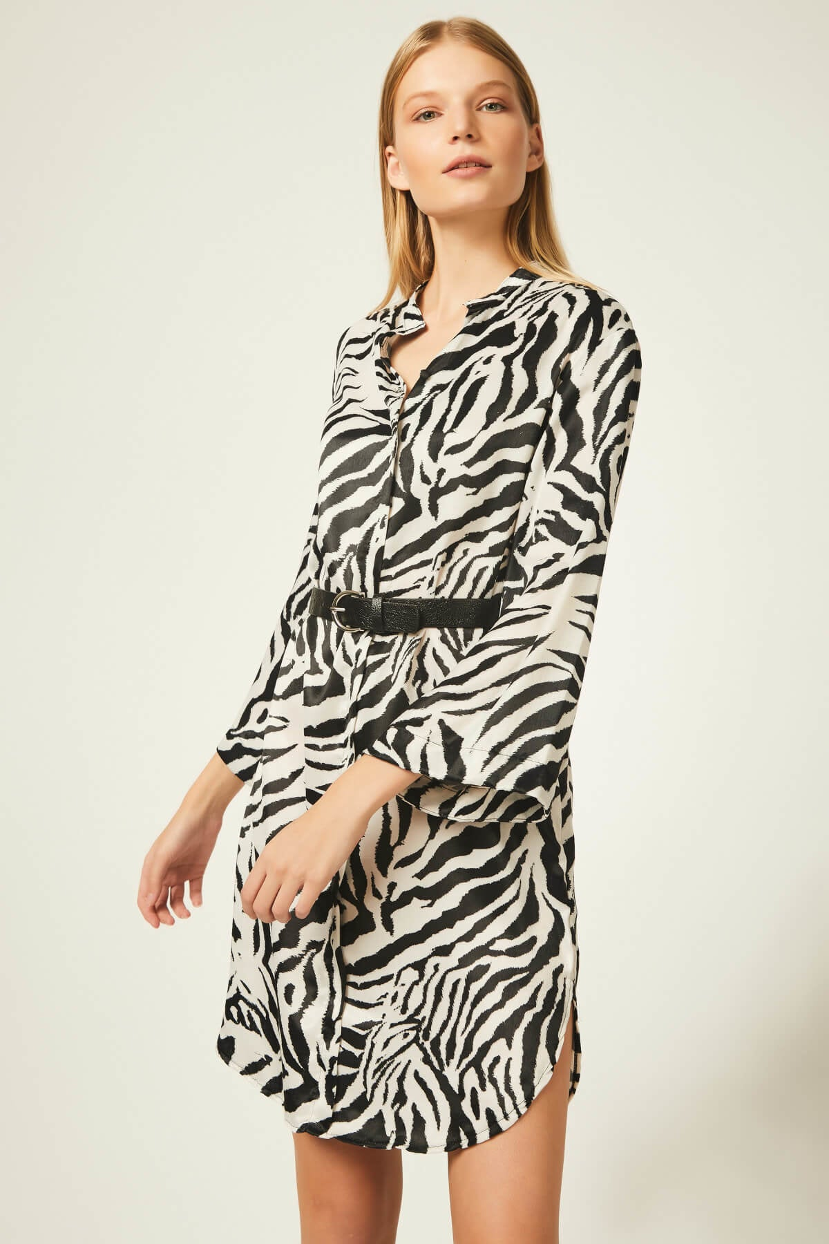 Animal Print Shirt Dress by Urban Touch