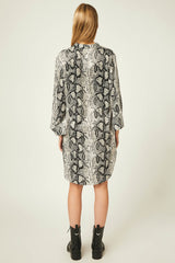 Black Animal Snake Skin Print Shirt Dress