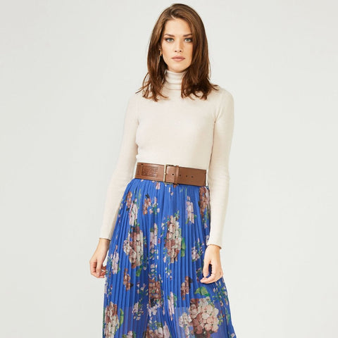 6a0a5e2869 Blue Floral Pleated Midi Skirt