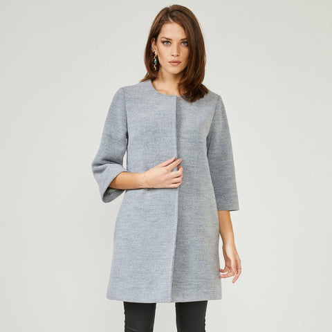 Grey Textured Smart Coat Jacket