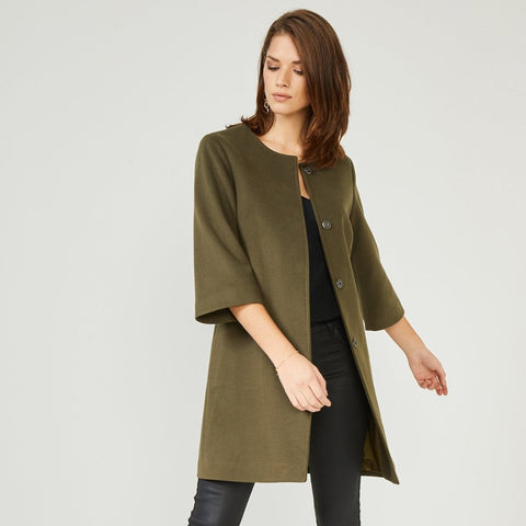 Khaki Textured Smart Coat Jacket
