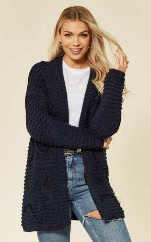 Navy Long Sleeve Embroidered Cardigan