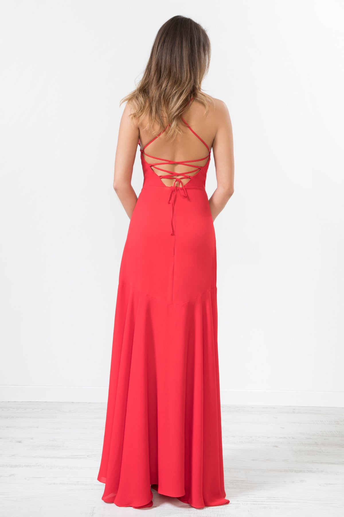 Red Frill Detail Strapped Back Maxi Dress
