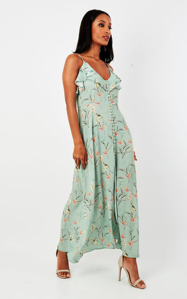 Green Frill Maxi Dress With Buttons