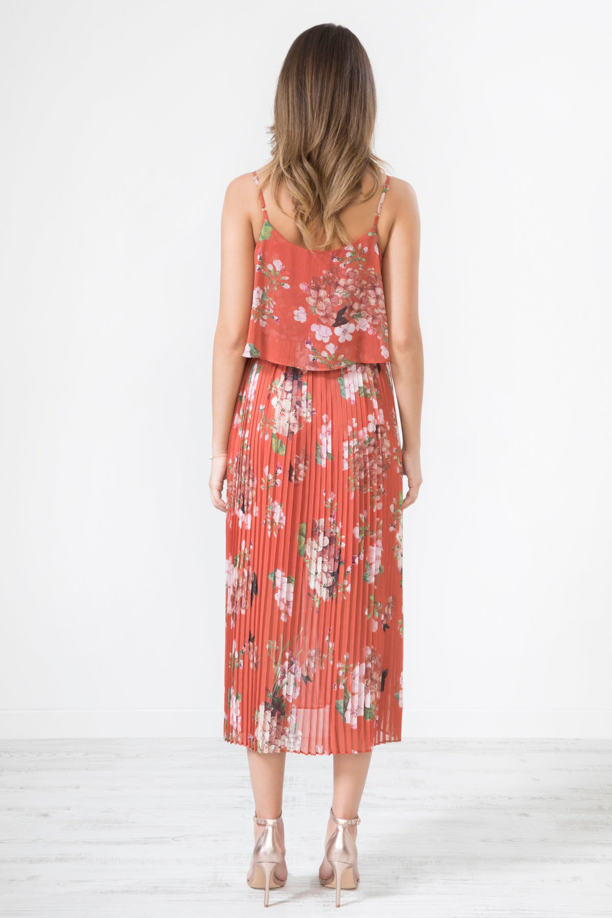 Red Floral Print Pleated Cami Midi Dress