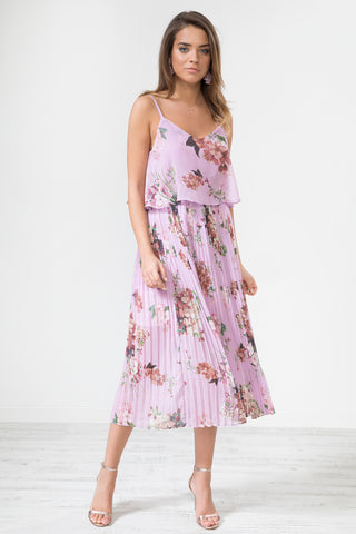 Lilac Blue Floral Print Pleated Cami Midi Dress