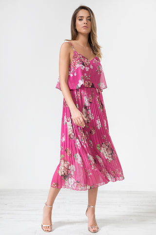 Fuchsia Floral Print Pleated Cami Midi Dress by Urban Touch